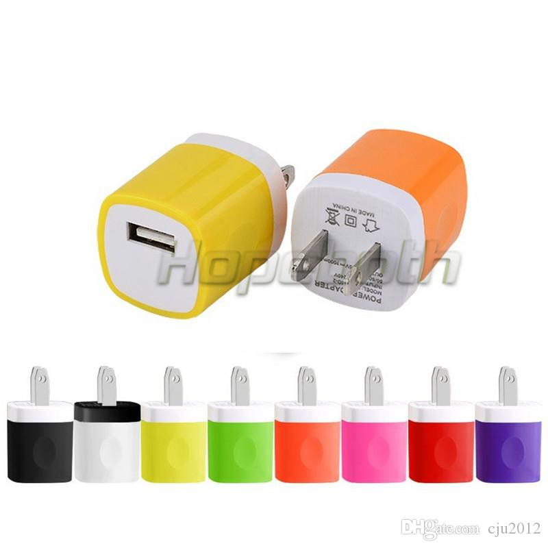 Colorful 5V 1000mah 1A US Ac home wall charger power adapter for iphone 5 6 7 for samsung galaxy note 2 4 s6 s7 gps mp3 mp4