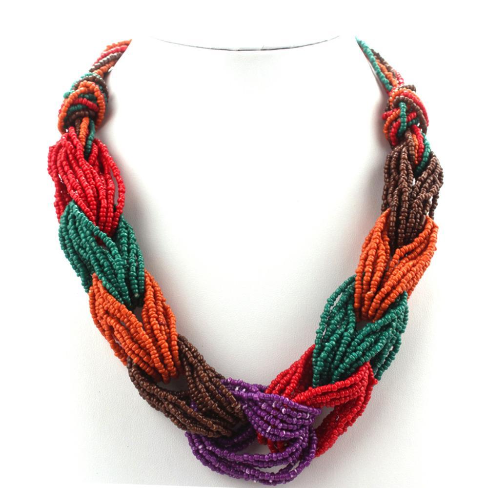 Handmade Woven Małe Koraliki Strand Kolorowe Czeski Naszyjnik Kobiety Moda Choker Multi Layer Naszyjniki Biżuteria Vintage