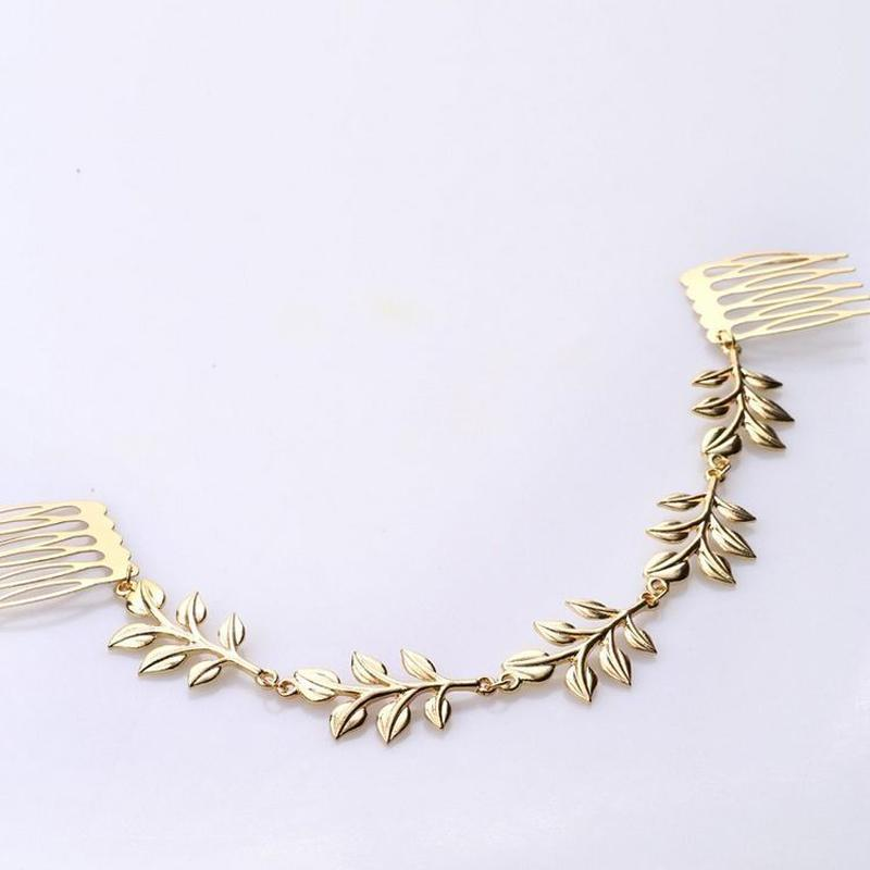 Chic Gold Color Leaf Headpiece Leaves Hair Comb Clip Cuff Tassel Head Piece Chain Women Hair Jewelry For Wedding