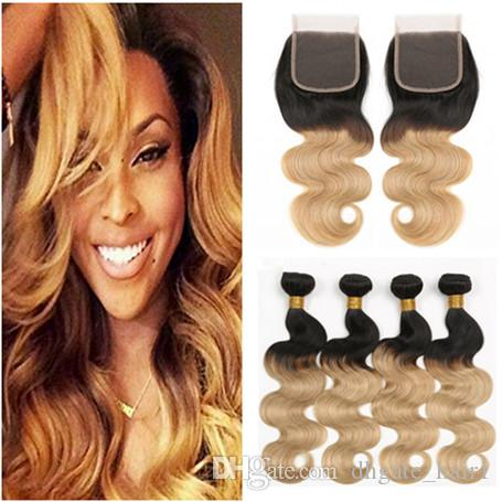 Ombre Honey Blonde Human Hair Weave Bundles with Closure Body Wave 1B/27 Light Brown Ombre 4x4 Lace Closure with 4Bundles Peruvian Hair