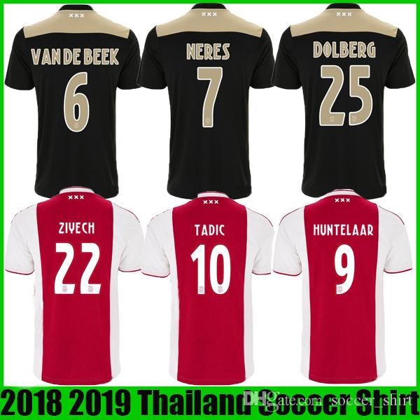 3f951f6527b 2019 Ajax 18 19 Home Red Soccer Jersey 2018 2019 Ajax FC NOURI ZIYECH  DOLBERG HUNTELAAR Away Black Soccer Customized Football Camiseta Shirts  From ...