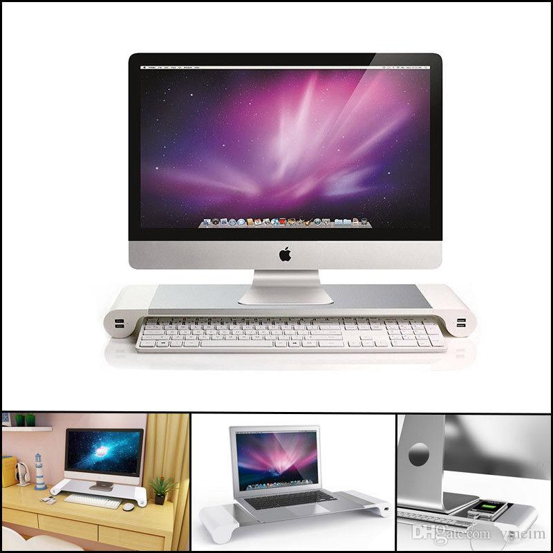 Premium Aluminum Monitor Stand Space Bar Dock Desk Riser 40 Usb Ports Awesome Macbook Pro Display Stand