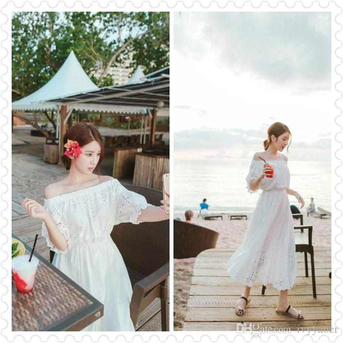 Summer Cotton White Long Skirts for Women Slash Neck Maxi Dress High Waist Casual Loose Beach Wear Dress