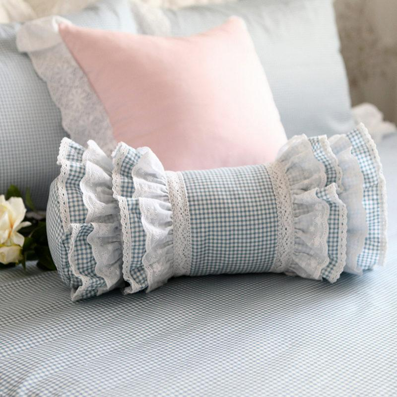 New Classic Blue Plaid Decorative Pillow European Style Embroidered Simple Ruffle Decorative Pillows