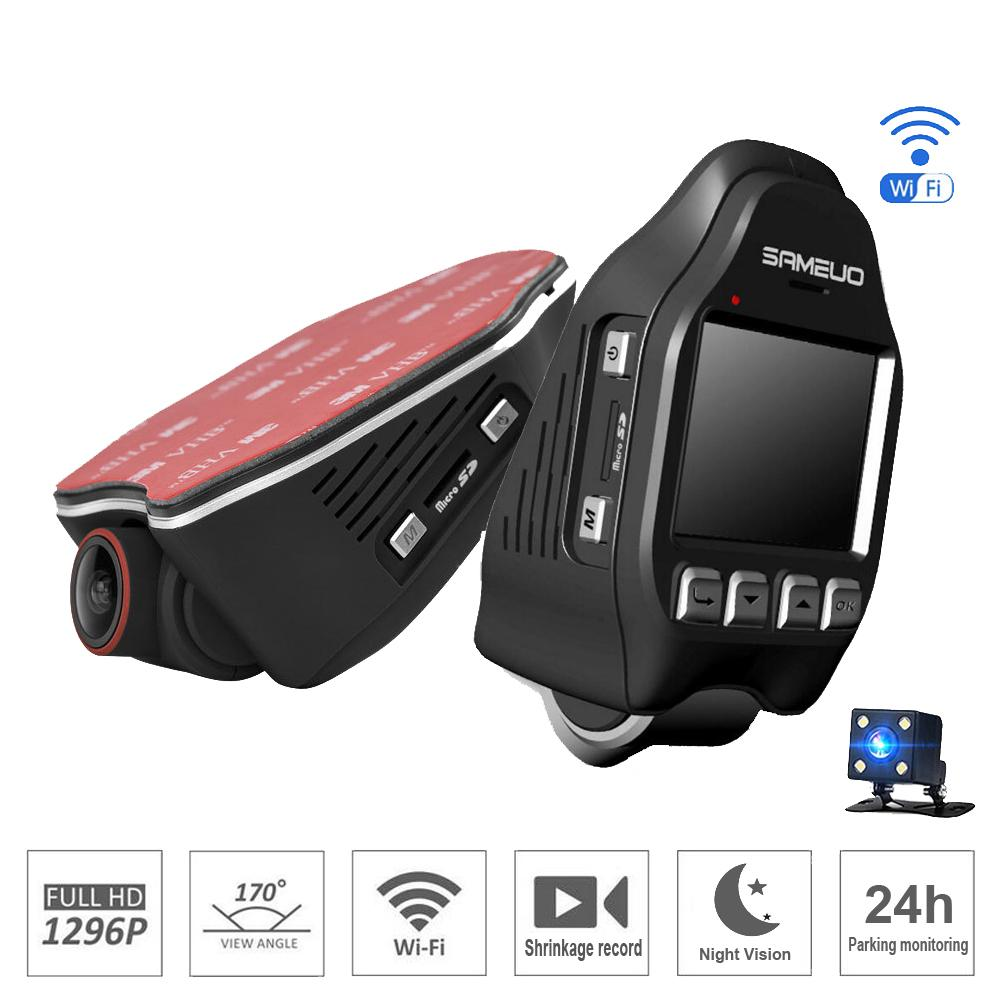 Novatek 96655 2 0 inch hidden type Wifi Car DVR 1296P super Night Vision  universal Dash Cam Recorder Wireless Dual cameras parking monitor