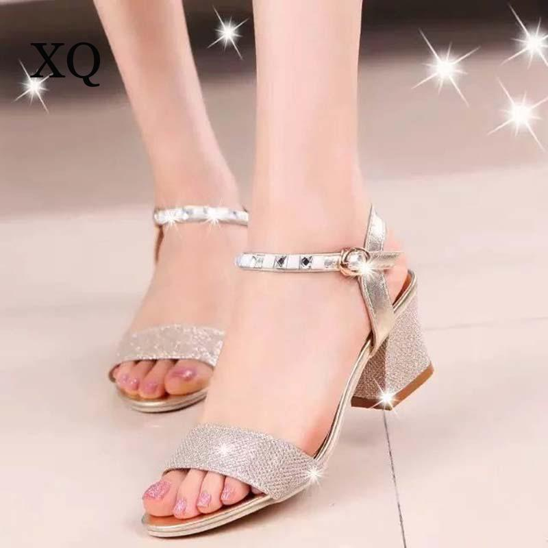 fce85f2bb Women Sandals 2017 Summer High Quality PU Fashion Crystal Sandals Women  Comfortable Sandalia Da Moda Size 35~41 Skechers Sandals Sexy Shoes From  Faaa