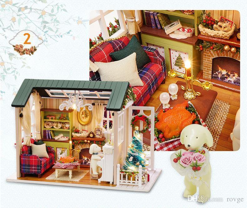 Kreative Kunst Haus Spaß Boutique Spielzeug Holz Handwerk DIY Spieluhr Cottage Jungen Mädchen Geburtstagsgeschenk