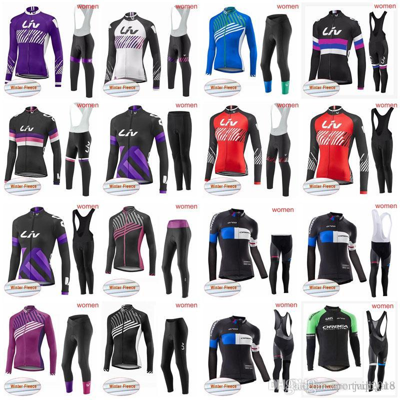 LIV ORBEA Team Cycling Winter Thermal Fleece Jersey Bib Pants Sets ... 358c8bc07