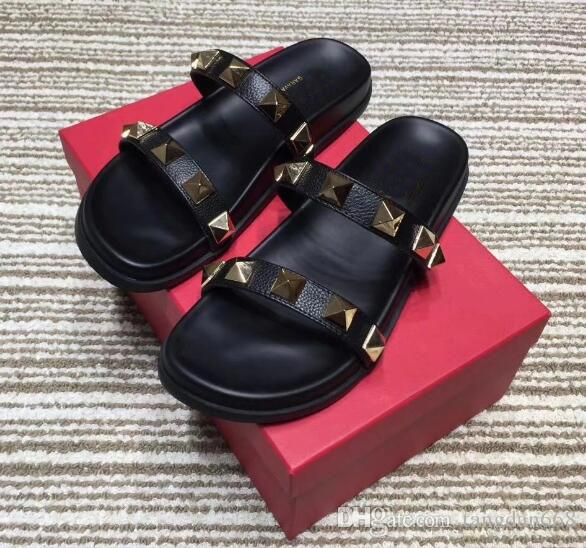 Promote Sales Fashion Name Brand Womens Metal Rivets Strap Slippers High Quality Cheap Casual Summer Lerther Shoes Slip-on Babouche With Box discount the cheapest BW3dmPAR