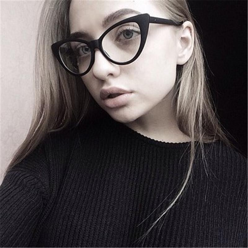 aecb1e9533 2019 Fashion Sexy Women Cat Eye Eyeglasses Transparent Big And Small Female  Glasses Frame Optical Eyewear From Kuchairly