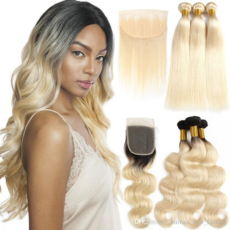 1B 613 Body Wave 613 Blonde Bundles with Frontal Brazilian Virgin Human Hair Bundles With Closure Straight Remy Hair Extensions