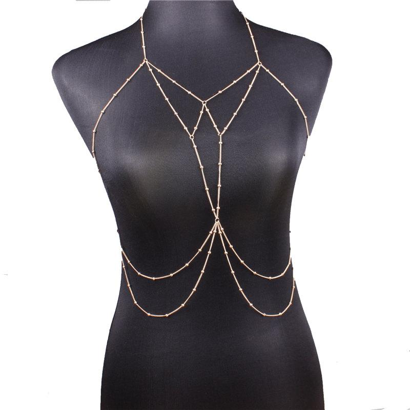 Women Sexy Swimsuit Chain Gold Body Chain Waist Belly Chains Fashion Beach Jewelry for Women Will and Sandy Drop SHipping
