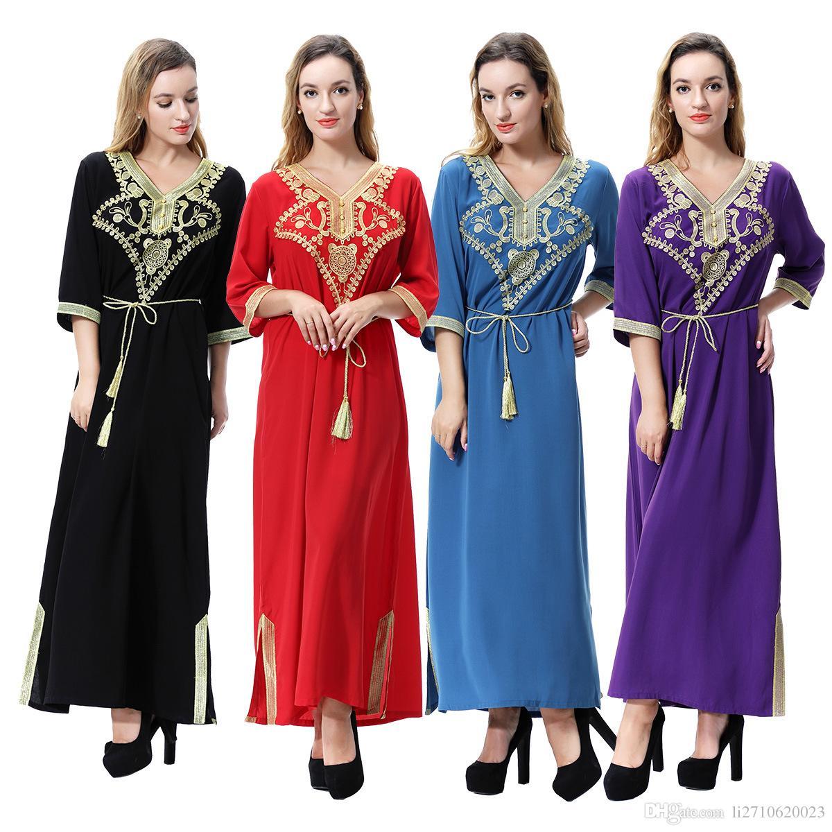 4fb840d1c5f Women S 3XL Linen Embroidery Patch Half Sleeve Muslim Maxi Islamic Dress  Moroccan Clothing Arab Robes Kaftan Jilbab Dubai Abaya Ladies Dressed White  Floral ...