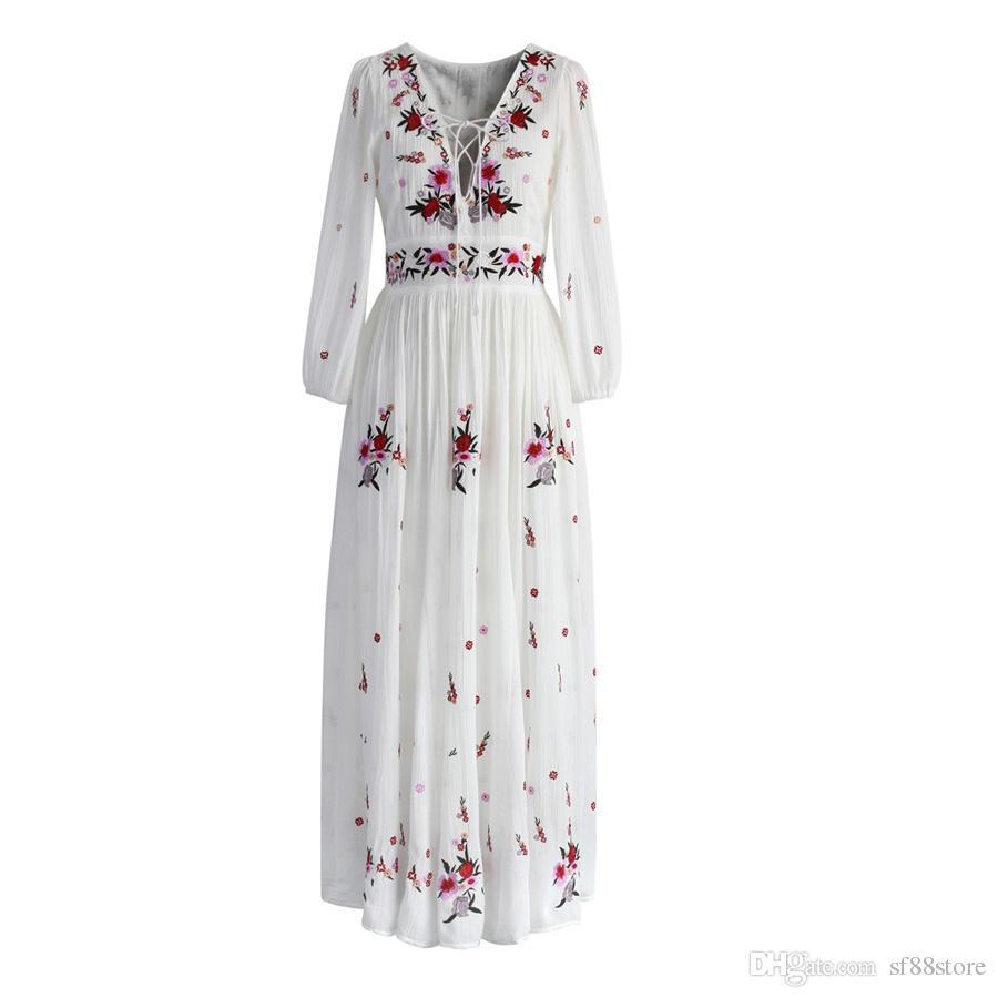 a777c63747c5 Acheter Boho Blanc Robe Longue Coton 2018 Vintage Floral Broderie Gland  Casual Maxi Robes Hippie Femmes Robe Marque Vêtements De  32.56 Du  Sf88store ...
