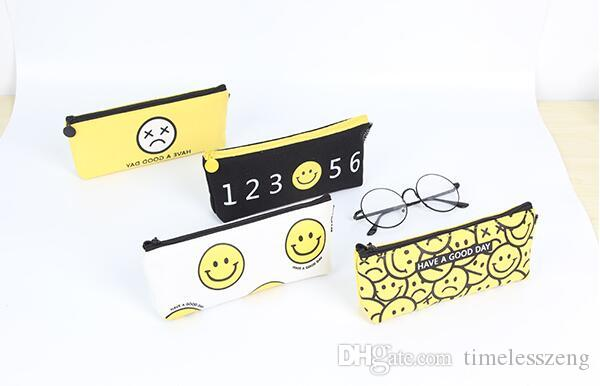 Bolso de la pluma del estudiante de la alta calidad caja de lápiz de la escuela de moda simple lienzo cara sonriente bolso del lápiz regalo