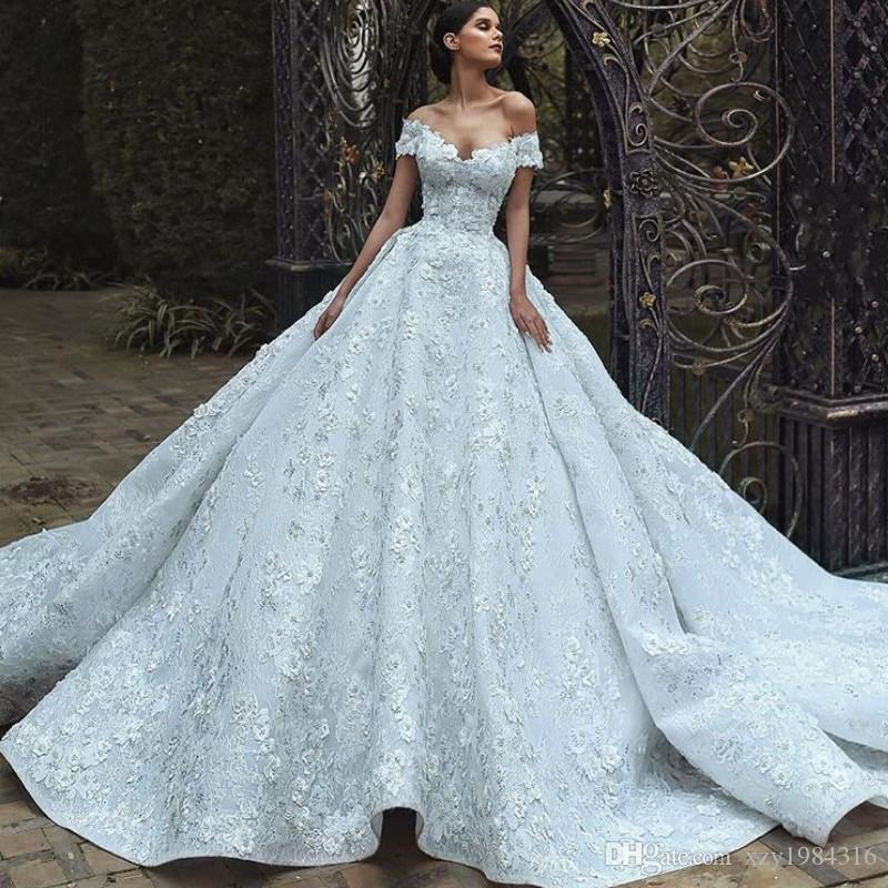 f9130c0206a Arabia Lace Ball Gown Wedding Dress Glamorous Off Shoulder 3D Petals  Applique Sleeveless Bridal Dress 2018 Sexy Saudi Princess Wedding Gown  Black And White ...