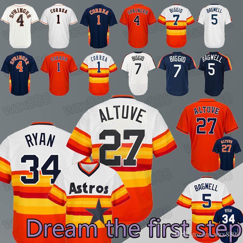 58daa1736a0 Baseball Jerseys Houston Astros 34 Nolan Ryan 27 Jose Altuve 1 ...