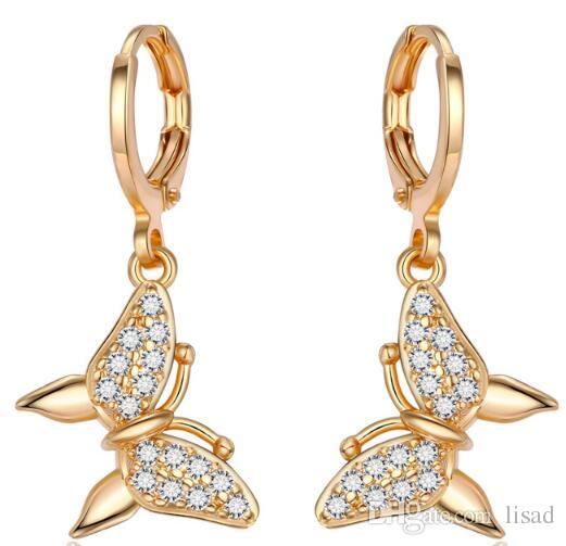 Hotsale Роуз Позолоченные Циркон бабочка серьги канделябра, Европа Мода Медь 100% Позолоченные серьги мотаться, серьги Корона Стиль