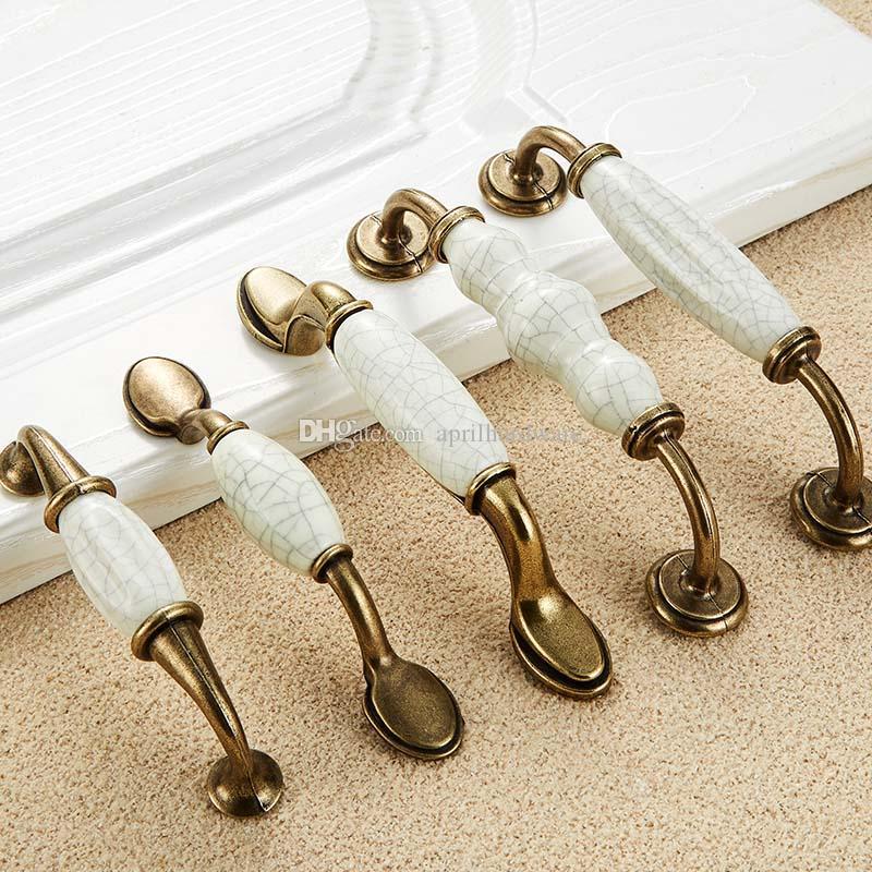 Vtg GREEN Porcelain ceramic Brass base Cabinet Door Knobs Drawer Pulls Handles