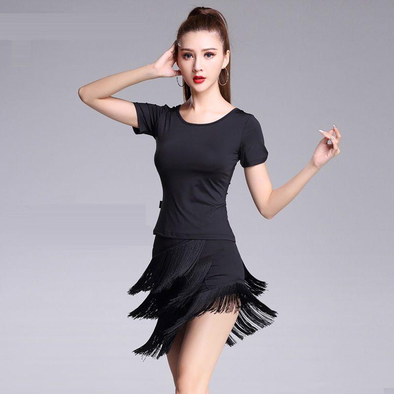 30f2ebc6e9f2 Adult/Girls Latin Dance Dress Black Red salsa tango Cha cha Ballroom  Competition Practice Dance Dress Short Sleeve T-shirt+Tassel Skirt Set