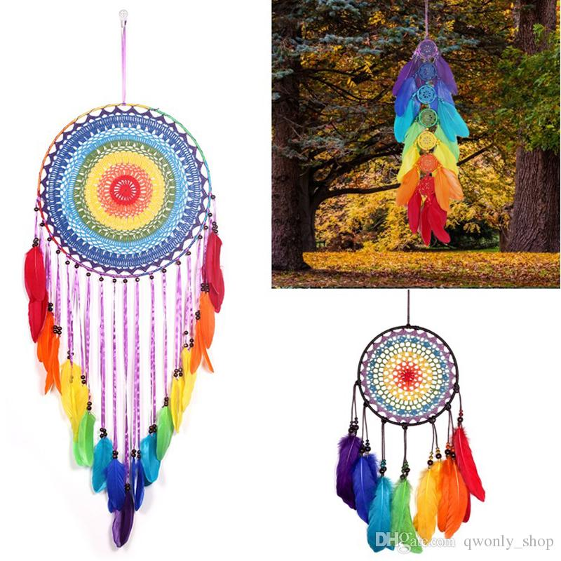 2019 Rainbow Color Lace Crochet Dreamcatcher Circular With Colorful