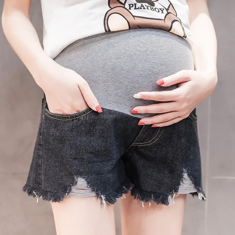 f103dbc9c0d 2019 Summer Fashion Thin Denim Maternity Shorts Elastic Waist Belly ...