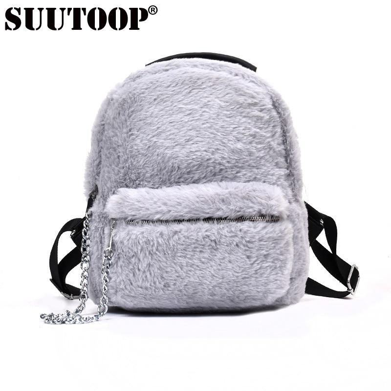 b20edc0b50acd SUUTOOP kış kadın tüylü sırt okul çantası öğrenci peluş sırt çantası  bayanlar çanta genç kızlar için sevimli sırt çantaları Mochila