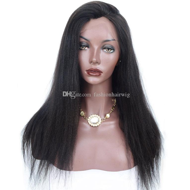 Long Black Heat Resistant Yaki Straight Synthetic Lace Front Wigs for Women Glueless Swiss Lace Wigs with Baby Hair