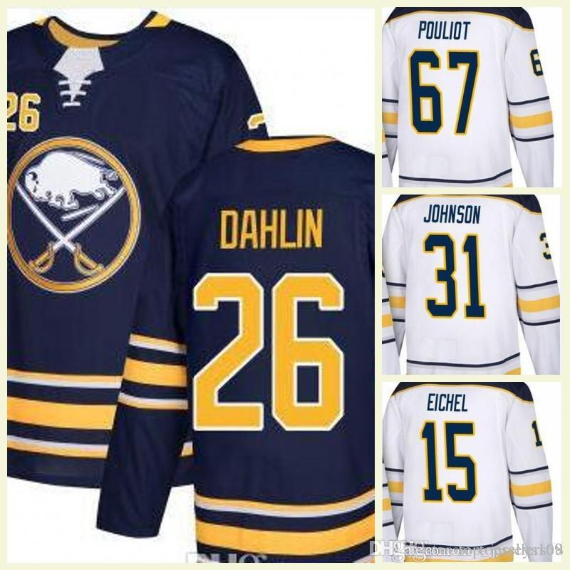 2018 White Navy Blue Cheap Wholesale Newest Buffalo Sabres 26 Rasmus Dahlin  Draft First Round Pick Blank Hockey Jersey UK 2019 From Top jerseys168 685a0187e