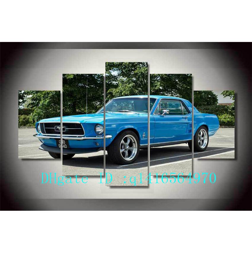 2019 Ford Mustang Muscle Car Canvas Prints Wall Art Oil Painting