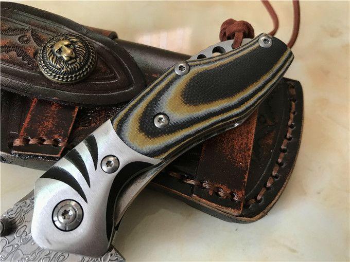Hızlı Kargo Flipper Katlanır Bıçak Şam Çelik Blade Micarta Kolu Deri Kılıf EDC Dişli Ile EDC Cep Bıçak Astar Kilidi