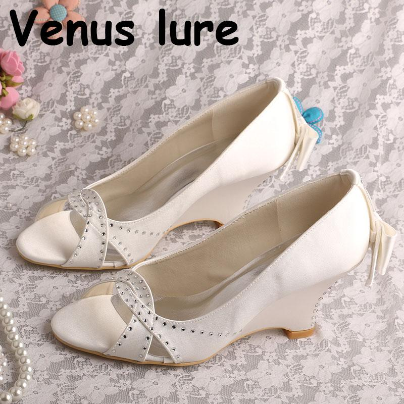 933850fb2b9 Wedding Shoes for Bride Wedges Heel Peep Toe Ladies Bow Pumps Online with   84.53 Piece on Shoes1122 s Store
