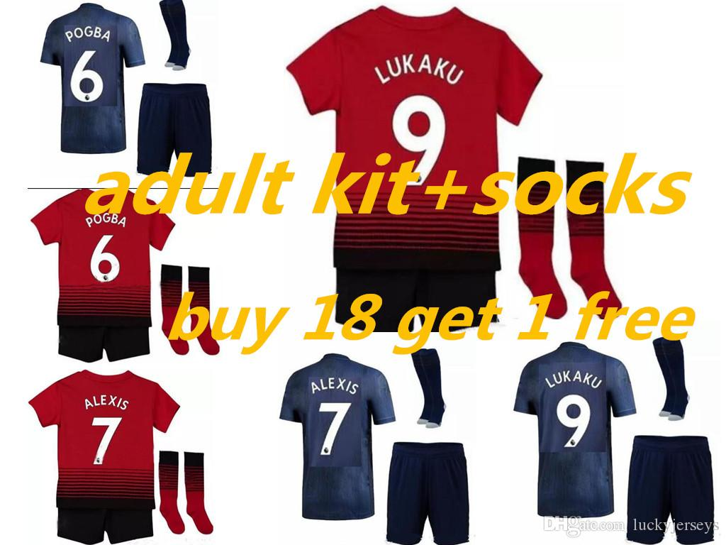 2b8d8840e 2019 UNITED SOCCER JERSEY Adult Kit +SOCKS 2018 19 POGBA ALEXIS LUKAKU KITS  2018 2019 MAN MAILLOT DE FOOavani Home Away De Football Uniform From ...