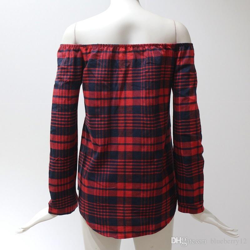 Primavera Mujer Plaid Camiseta Slash Cuello Mangas largas Único pecho Pecho Mujeres Rejilla impresa fuera del hombro Blusa