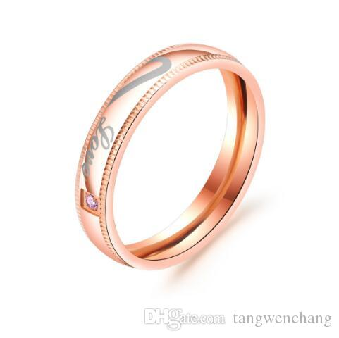2018 2018 Wedding Bands Stainless Steel Heart Pattern Rose Gold