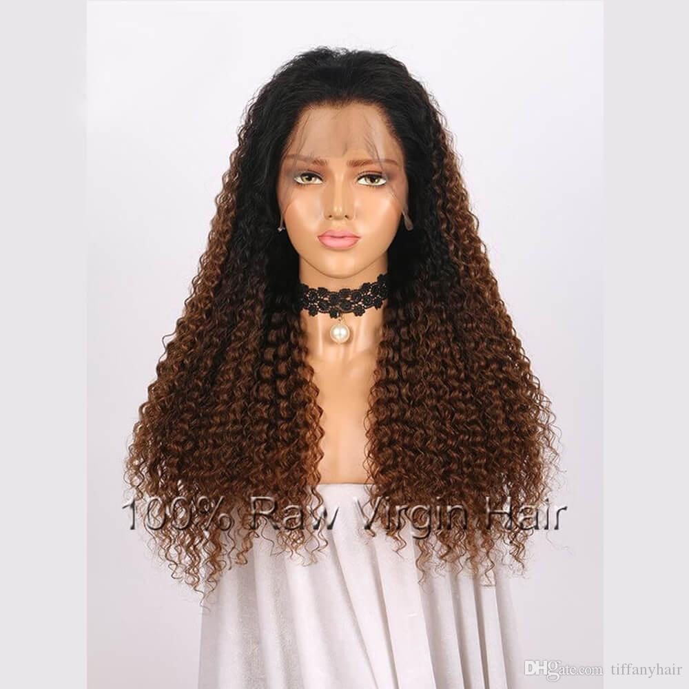 Lace Front Wigs Full Lace Wigs Brazilian Remy Hair 1BT4 Ombre Color Kinky Curly Free Part Pre Plucked Natural Hairline 8inch-26inch