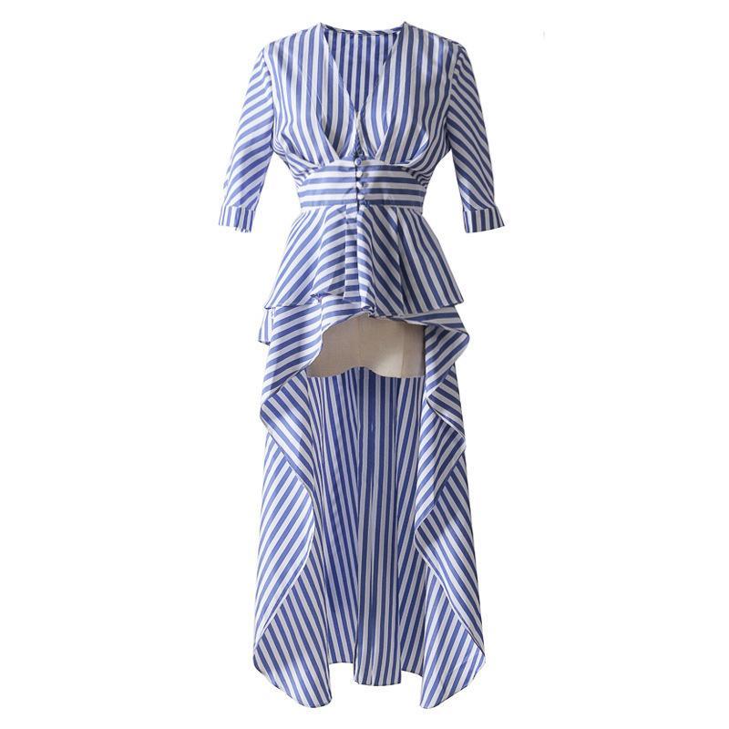 55caffc40 Compre QLZW 2018 Novas Roupas Da Moda Profunda Com Decote Em V Meia Manga Cintura  Cintos De Ajuste De Volta Longo Irregular Camisa Feminina Listrado WA75500  ...