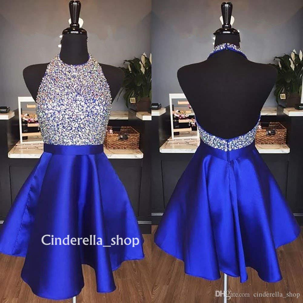 Royal Blue Crystal Short Homecoming Dresses Halter Backless Beaded A Line  Above Knee Length Satin Burgundy Sexy Cocktail Prom Party Gowns Corset  Homecoming ... 9bc8403b4