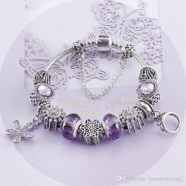 Elegant women amethyst bracelet shiny alloy pendant bracelets for mom nice gift Mother's Day 8 style free ship