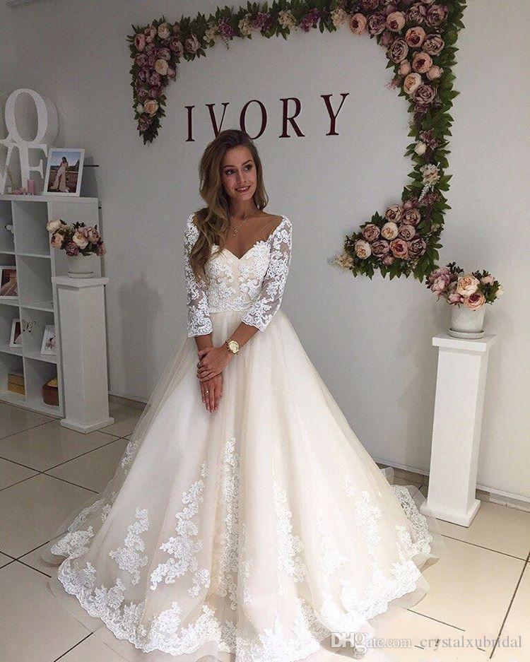 2018 Günstige Vintage A Line Brautkleider Drei Viertel Mit Langen Ärmeln V-ausschnitt Spitze Appliques Sweep Zug Backless Plus Size Formale Brautkleid