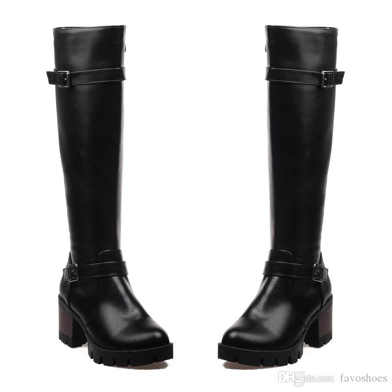 Favofans Womens Girls Synthetic Leather Shoes Platform High Heel Zip Buckle Knee Boots FF-B222 US UK EUR Size Customized