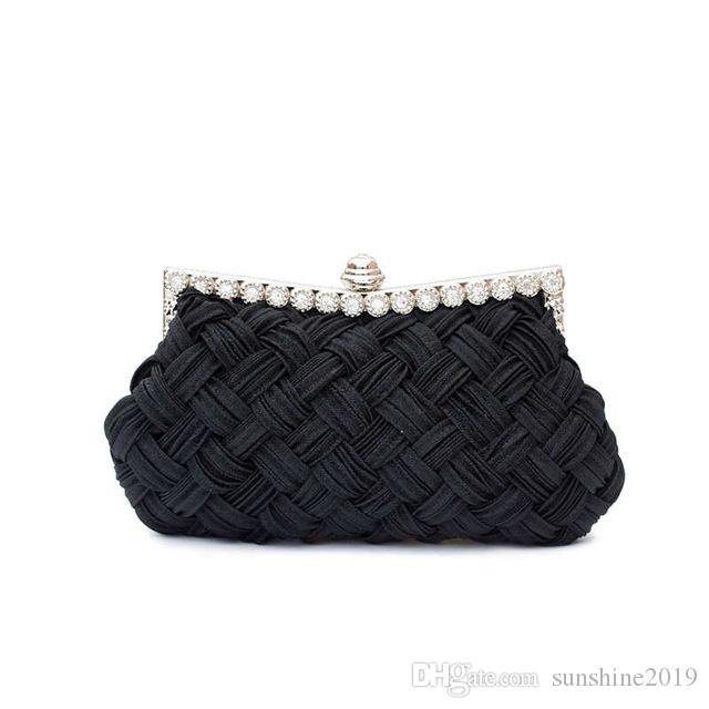 Evening Weaved 2019 Fashion Handbag Female Clutch Ladie Evening Bag Knitting Evening Party Small Clutch Bag with Chain