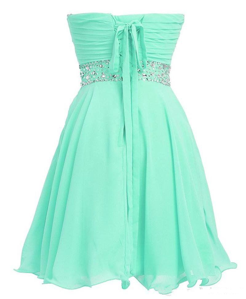 Frete Grátis Mint Verde Vestido de Cristal Curto Vestidos de Formatura 2019 Novo Cocktail Vestido Vestido De Formatura Curto Barato Homecoming Vestido