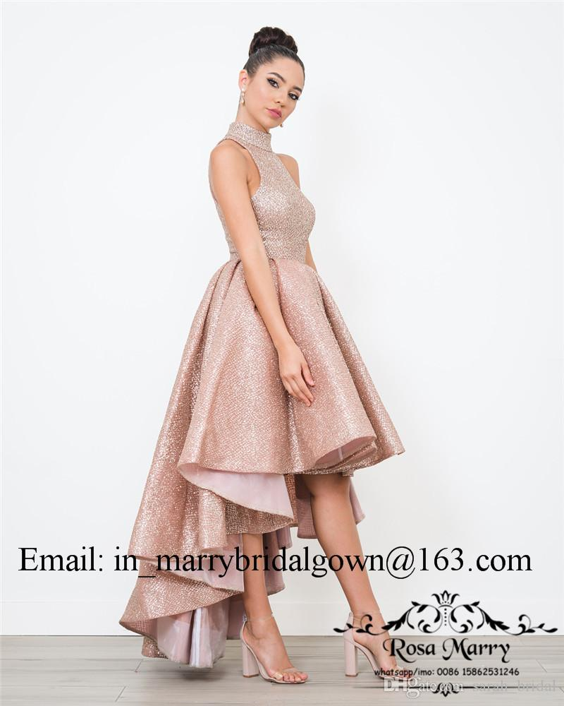 Rose Gold Sequined Arabic Short Prom Dresses 2020 High Neck Plus Size High Low Cheap African Girls Formal Pageant Evening Party Gowns