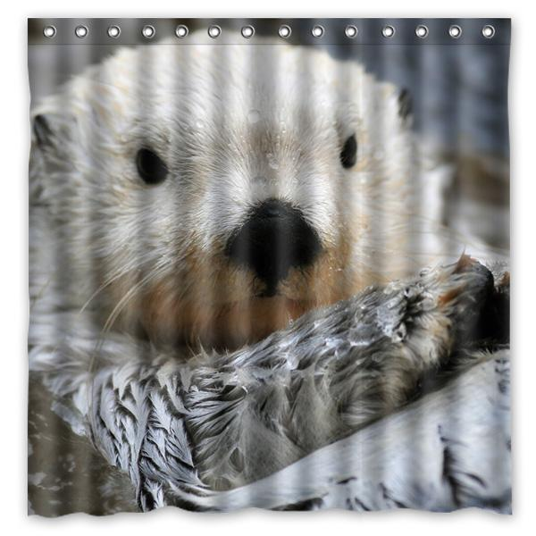 2018 180x180cm Sea Otter Bathroom Waterproof Polyester Shower Curtain Mouldproof Fabric Bath Accessory From Hariold 4629
