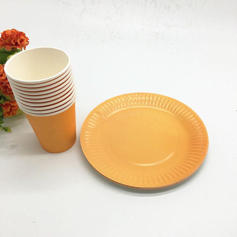2019 Orange Color Plates Cups Baby Shower Party Supplies Orange