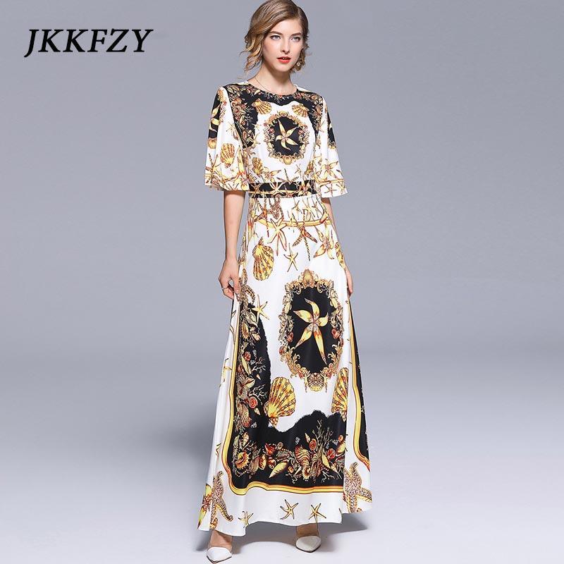 71f9967d703 Summer Women s Runway Starfish shell Print Maxi Long Dress 2018 Vintage  Sundress Casual Flare Sleeve Evening Party Dresses