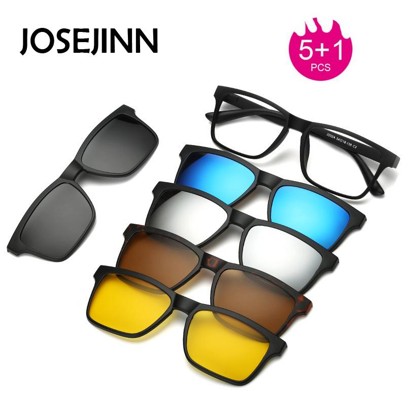 74d5c21dbe458 5+1 suit Multi function Clip On Sunglasses men Magnetic clip Sunglasses  women Magnet eyeglasses Optical Myopia glasses