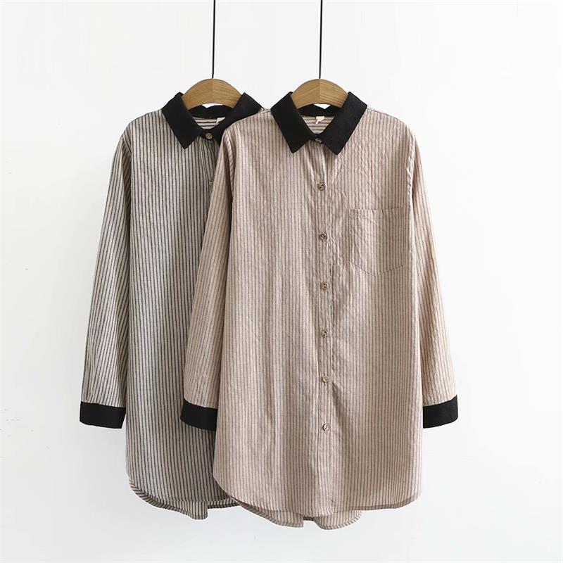 e69c709b452477 2019 Plus Size Black & Khaki Striped Cotton Linen Blouse Women 2018 Long  Sleeves Turn Down Collar Shirt Spring Autumn Ladies Tops 4XL From Amandal,  ...