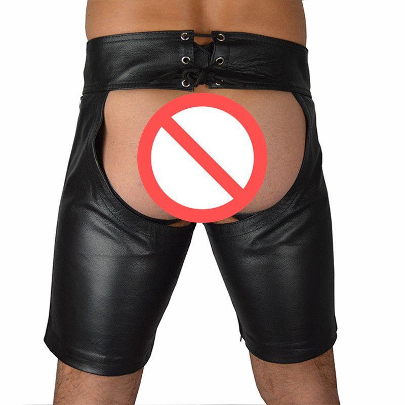 Tamaño M-XXXL Sexy Tight Negro PU de cuero Shorts hombres con cordones Bondage Jockstrap Lencería Open Butt Fetish Gay Boxers bragas